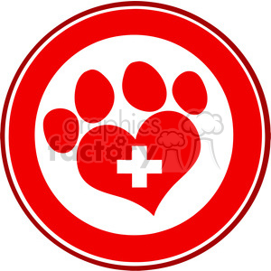 Royalty Free RF Clipart Illustration Veterinary Love Paw Print Red Circle Banner Design With Cross clipart. Royalty-free image # 395284