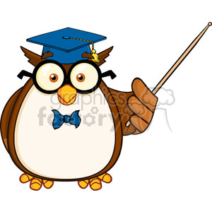 Royalty Free RF Clipart Illustration Wise Owl Teacher Cartoon Mascot Character With A Pointer clipart. Royalty-free image # 395314