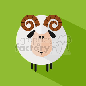 8245 Royalty Free RF Clipart Illustration Cute Ram Sheep Modern Flat Design Vector Illustration clipart. Royalty-free image # 395364