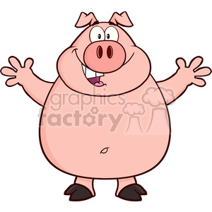 Royalty Free RF Clipart Illustration Happy Pig Cartoon Mascot Character Open Arms For Hugging clipart. Commercial use image # 395394