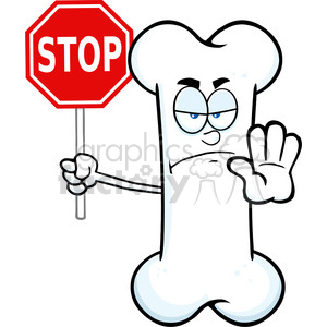Royalty Free RF Clipart Illustration Angry Bone Cartoon Mascot Character Holding A Stop Sign clipart. Commercial use image # 395404