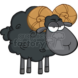 Royalty Free RF Clipart Illustration Angry Black Ram Sheep Cartoon Mascot Character clipart. Royalty-free image # 395414