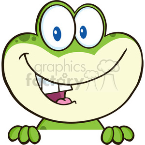 7254 Royalty Free RF Clipart Illustration Cute Frog Cartoon Mascot Character Over Blank Sign clipart. Royalty-free image # 395424