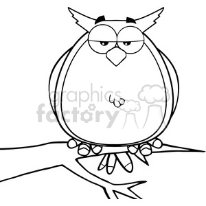 Royalty Free RF Clipart Illustration Black And White Owl On Tree Cartoon Character clipart. Royalty-free image # 395434