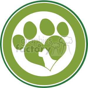 Royalty Free RF Clipart Illustration Love Paw Print Green Circle Banner Design With Dog Head Silhouette clipart. Commercial use image # 395444