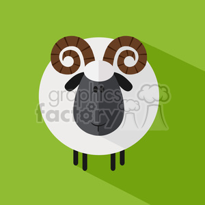 8238 Royalty Free RF Clipart Illustration Cute Ram Sheep Modern Flat Design Vector Illustration