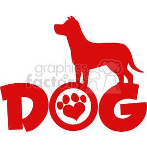 Royalty Free RF Clipart Illustration Dog Red Silhouette Over Text With Love Paw Print Vector Illustration Isolated On White Background