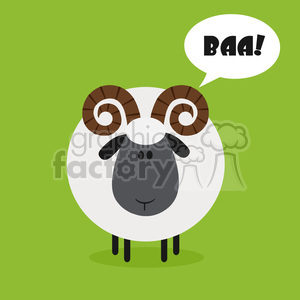 8241 Royalty Free RF Clipart Illustration Cute Ram Sheep Modern Flat Design Vector Illustration With Speech Bubble And Text clipart. Royalty-free image # 395494