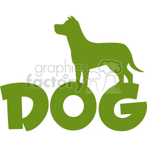 Royalty Free RF Clipart Illustration Dog Green Silhouette Over Text Vector Illustration Isolated On White Background clipart. Commercial use image # 395514