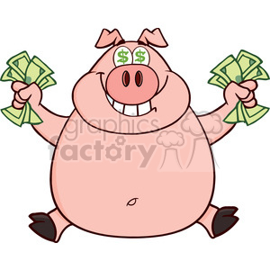 Royalty Free RF Clipart Illustration Smiling Rich Pig With Dollar Eyes And Cash Jumping