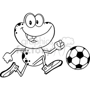 Royalty Free RF Clipart Illustration Black And White Cute Frog Cartoon Character Playing With Soccer Ball clipart. Royalty-free image # 395544