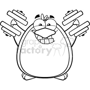 Royalty Free RF Clipart Illustration Black And White Smiling Penguin Cartoon Mascot Character Training With Dumbbells clipart. Royalty-free image # 395564