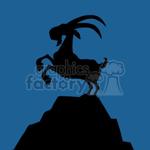 Royalty Free RF Clipart Illustration Black Goat Silhouette On Top Of A Mountain Peak On Blue Background clipart. Royalty-free image # 395584