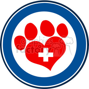 Royalty Free RF Clipart Illustration Veterinary Love Paw Print Blue Circle Banner Design With Cross clipart. Royalty-free image # 395604