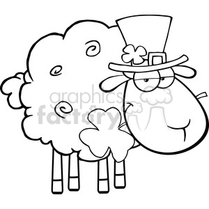 Royalty Free RF Clipart Illustration Black And White Irish Sheep Carrying A Clover In Its Mouth clipart. Commercial use image # 395614