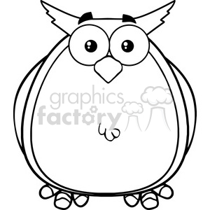 Royalty Free RF Clipart Illustration Black And White Owl Cartoon Mascot Character clipart. Commercial use image # 395624