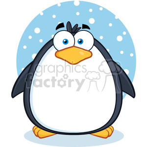 Royalty Free RF Clipart Illustration Cute Penguin Cartoon Mascot Character In The Snow clipart. Royalty-free image # 395634