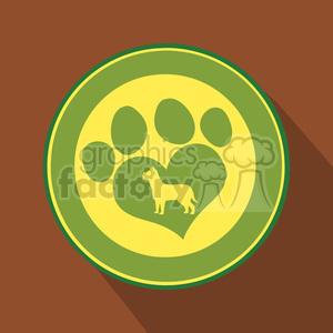 8256 Royalty Free RF Clipart Illustration Love Paw Print Green Circle Icon Modern Flat Design Vector Illustration clipart. Commercial use image # 395644