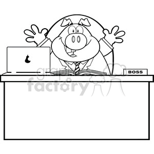 Royalty Free RF Clipart Illustration Black And White Businessman Pig Cartoon Mascot Character Behind Desk clipart. Royalty-free image # 395654