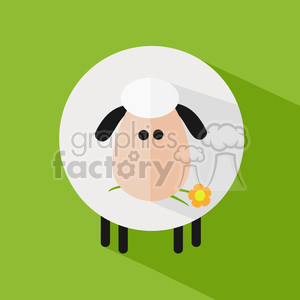 8227 Royalty Free RF Clipart Illustration Cute White Sheep With A Flower Modern Flat Design Vector Illustration clipart. Commercial use image # 395684