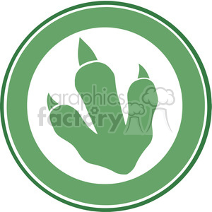 8771 Royalty Free RF Clipart Illustration Dinosaur Green Paw Print Circle Label Design Vector Illustration clipart. Royalty-free image # 395694