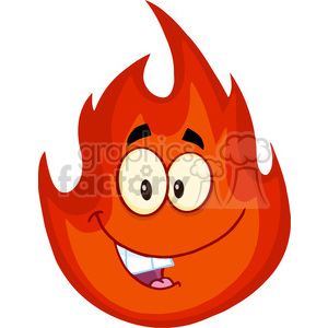 Royalty Free RF Clipart Illustration Happy Fire Cartoon Mascot Character clipart. Royalty-free image # 395734