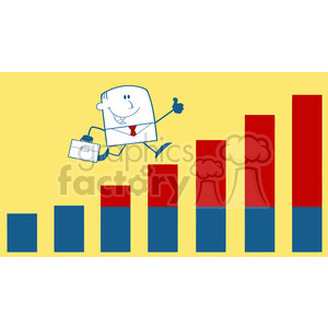 Royalty Free RF Clipart Illustration Businessman Giving A Thumb Up And Running Over Growing Bar Chart Monochrome Cartoon Character On Yellow Background