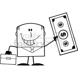 Royalty Free RF Clipart Illustration Black And White Lucky Businessman With Briefcase Holding A Dollar Bill Cartoon Character clipart. Commercial use image # 395814