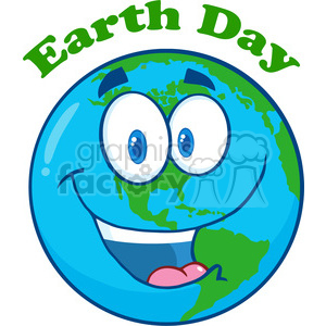 Royalty Free RF Clipart Illustration Happy Earth Cartoon Character Under Text clipart. Commercial use image # 395834
