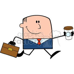 Royalty Free RF Clipart Illustration Lucky Businessman Running To Work With Briefcase And Coffee Cartoon Character clipart. Royalty-free image # 395844