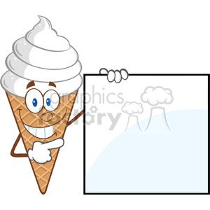 Royalty Free RF Clipart Illustration Ice Cream Cartoon Mascot Character Showing A Blank Sign clipart. Royalty-free image # 395854