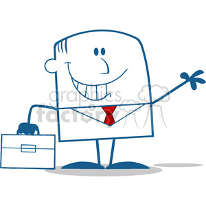 Royalty Free RF Clipart Illustration Smiling Businessman Waving Monochrome Cartoon Character clipart. Royalty-free image # 395874