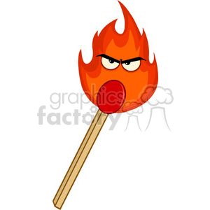 Royalty Free RF Clipart Illustration Burning Match Stick With Evil Flame Cartoon Character