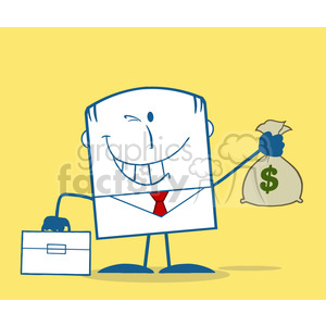 Royalty Free RF Clipart Illustration Winking Businessman With Briefcase Holding A Money Bag Monochrome Cartoon Character On Yellow Background clipart. Royalty-free image # 395914
