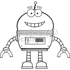 Royalty Free RF Clipart Illustration Black And White Smiling Robot Cartoon Character clipart. Commercial use image # 395924