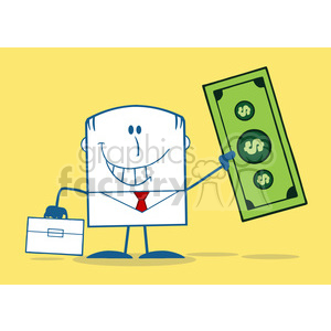 Royalty Free RF Clipart Illustration Lucky Businessman With Briefcase Holding A Dollar Bill Monochrome Cartoon Character On Yellow Background clipart. Royalty-free image # 395934