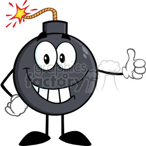 Royalty Free RF Clipart Illustration Smiling Bomb Cartoon Character Showing Thumbs Up clipart. Commercial use image # 395944