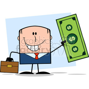 Royalty Free RF Clipart Illustration Lucky Businessman With Briefcase Holding A Dollar Bill Cartoon Character On Background clipart. Royalty-free image # 395964