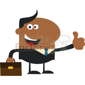 8260 Royalty Free RF Clipart Illustration Happy African American Manager Giving Thumb Up In Modern Flat Design Vector Illustration clipart. Commercial use image # 395994