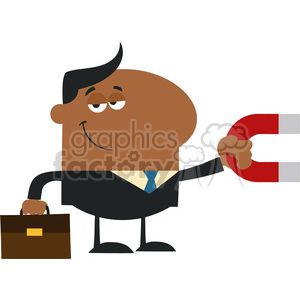 8281 Royalty Free RF Clipart Illustration Smiling African American Manager Holding A Magnet Flat Design Style Vector Illustration clipart. Royalty-free image # 396006