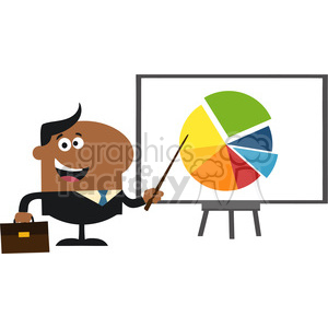 8361 Royalty Free RF Clipart Illustration African American Manager Pointing Progressive Pie Chart On A Board Flat Style Vector Illustration clipart. Royalty-free image # 396016