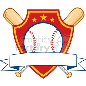 Baseball Shield Banner With Two Bats And Ball clipart. Commercial use image # 396055