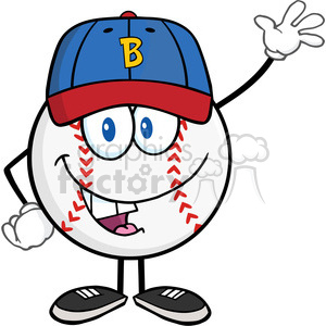 Baseball Ball With Cap Cartoon Mascot Character Waving clipart. Commercial use image # 396075