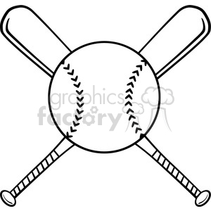 Black and White Crossed Baseball Bats And Ball clipart. Royalty-free image # 396085