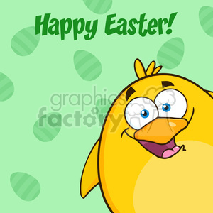 8592 Royalty Free RF Clipart Illustration Happy Easter With Smiling Yellow Chick Cartoon Character Looking From A Corner Vector Illustration clipart. Commercial use image # 396095
