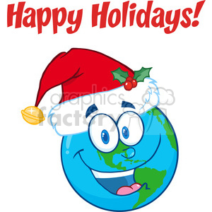 8212 Royalty Free RF Clipart Illustration Happy Holidays Greeting With Earth clipart. Royalty-free image # 396125