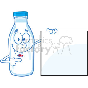 Royalty Free RF Clipart Illustration Smiling Milk Bottle Character Showing A Blank Sign