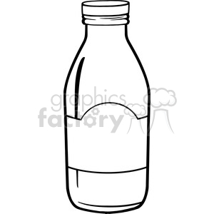 Royalty Free RF Clipart Illustration Black And White Cartoon Milk Bottle