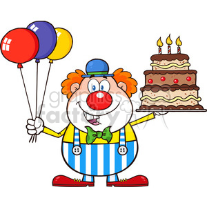 Royalty Free RF Clipart Illustration Birthday Clown Cartoon Character With Balloons And Cake With Candles clipart. Commercial use image # 396175