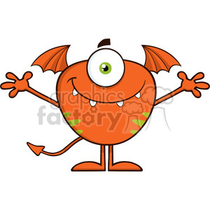 8905 Royalty Free RF Clipart Illustration Smiling Cute Monster Cartoon Character With Welcoming Open Arms Vector Illustration Isolated On White